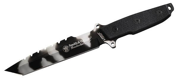 Smith & Wesson Kampfmesser, 440 Stahl, G-10-Griffschalen, Nylonscheide