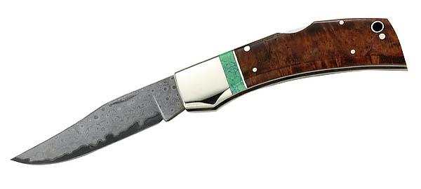 Herbertz-Damast-Taschenmesser, 33-Lagen, Wurzelholzschalen, Malachiteinlage, Holzbox