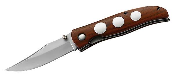 Herbertz Einhandmesser, AISI 420-Stahl, Holzgriffschalen mit Edelstahleinlagen