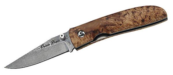 Fox Damast-Einhandmesser, 512 Lagen, Maserbirke, Geschenkbox