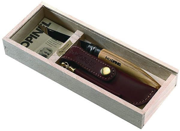 Opinel-Geschenkset, Slim-Line, Olivenholz, Etui, Holzbox