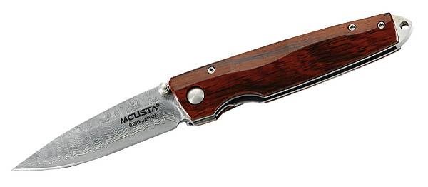 MCUSTA-Einhandmesser, 65-Lagen VG-10-Damast, Cocobolo-Holz, Edelstahlclip