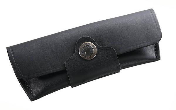 Schwarzes Leder-Etui, für Messer mit 12 cm Heftlänge, Gürtelschlaufe, quer zu tragen