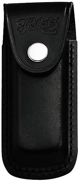 Messer-Etui, schwarzes Leder, eingeschnitt. Gürtelschlaufe, für Messer mit 11 cm Heftlänge