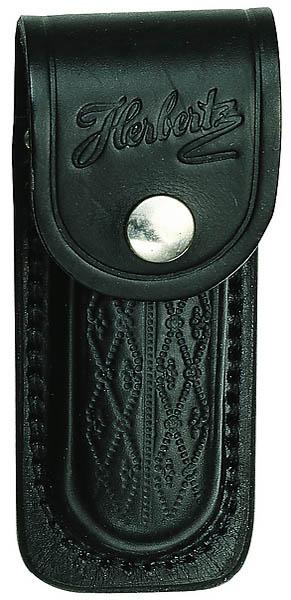 Herbertz Messer-Etui, schwarzes Leder mit Prägemuster, Gürtelschlaufe, für Messer mit 11 cm Heftlänge