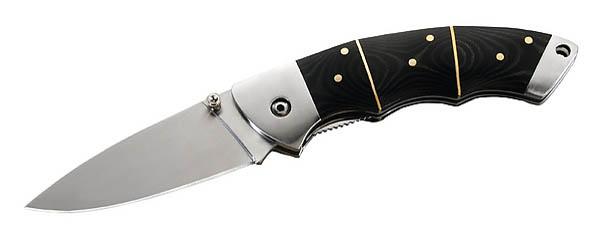 Herbertz Einhandmesser, Stahl 440 C, Micarta-Schalen, Edelstahlbeschläge