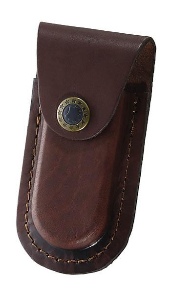 Braunes Leder-Etui, Gürtelschlaufe, längs und quer tragbar, für Messer mit 9 cm Heftlänge