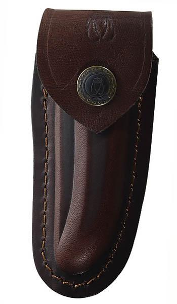 Braunes Leder-Etui, für Laguiole-Messer mit 10 cm Heftlänge, längs und quer tragbar