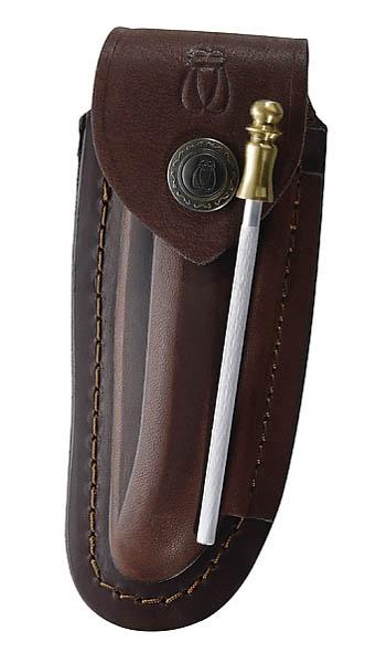 Braunes Leder-Etui, f. Laguiole-Messer mit 10cm Heftlänge, längs und quer tragbar, inkl. Wetzstahl 10 cm