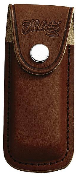 Messer-Etui, braunes Leder, eingeschnittene Gürtelschlaufe, für Messer mit 13 cm Heftlänge