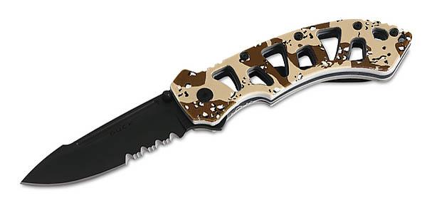 Buck Einhandmesser, Stahl 420HC, Aluminiumheft, Camo-Design, Clip