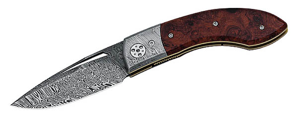 Fox Einhandmesser, Damaststahl, Amboina-Holz, Holzschatulle, Design Francesco Pachi