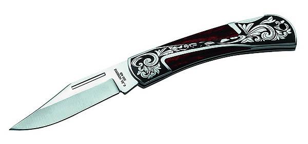 Herbertz Taschenmesser, AISI 420, Edelstahlbeschläge mit Lasergravur, Pakkaholzeinlagen