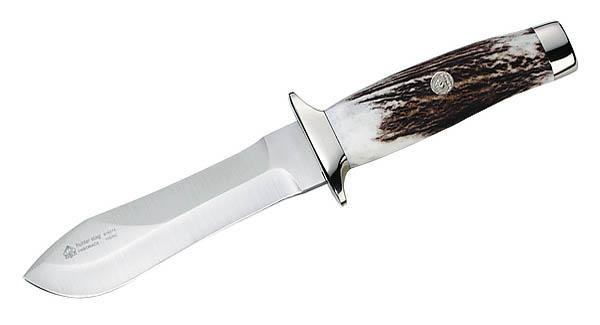 Puma-IP Stag Hunter, Stahl 440 C, Hirschhornschalen, braune Lederscheide