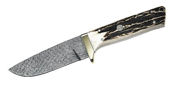 Puma-IP Jagdmesser, 540-lagiger Damaststahl, nicht rostfrei, Hirschhornschalen, Lederscheide