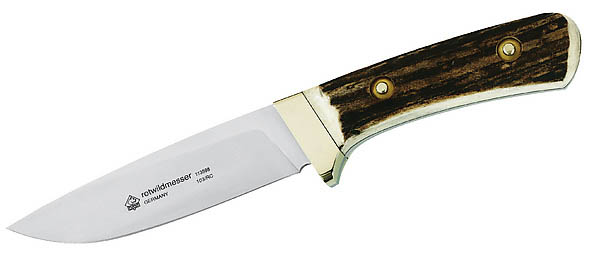 Puma Rotwildmesser, Stahl 1.4110, Hirschhorn-Griffschalen, Sattelleder-Scheide, Puma-Nr. 113598