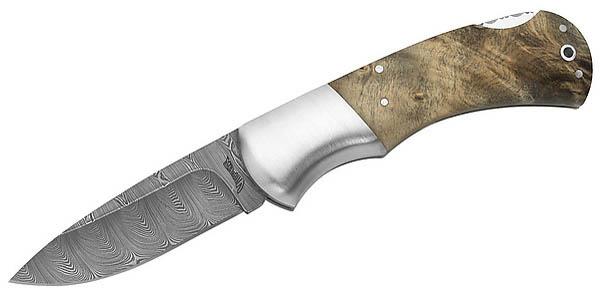 Viper-Taschenmesser, Damasteel-Stahl, 256 Lagen, Buckeye-Holz, Holzbox