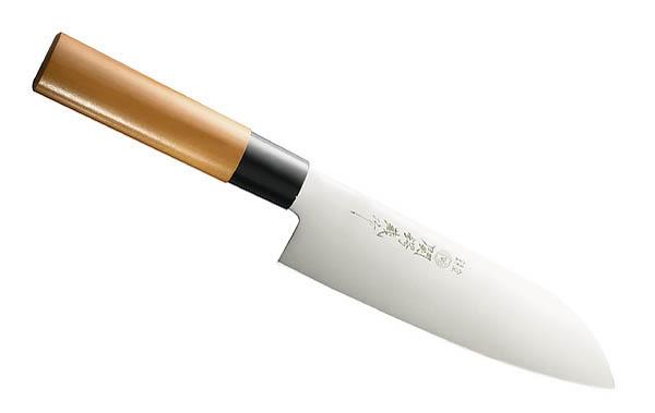 Japanisches Kochmesser Santoku, rostfrei, Holzgriff