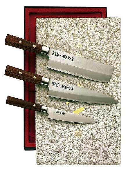 Japanisches Kochmesser-Set, 3-teilig, 3-Lagen-Stahl, Schichtholz, Edelstahlzwingen