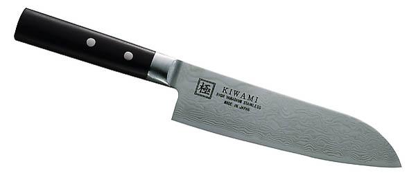 Japanisches Kochmesser Santoku, 33 Lagen Damast, Pakkaholz