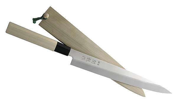 Japanisches Kochmesser Sashimi, rostfrei, Holzgriff, Kunststoffzwinge, Holzscheide