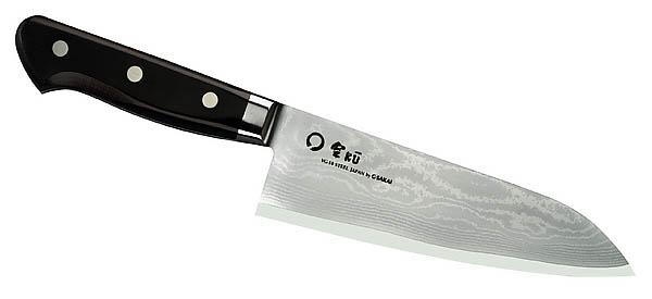 Japanisches Kochmesser Santoku, 65 Lagen VG-10 Damastklinge, Ebenholz
