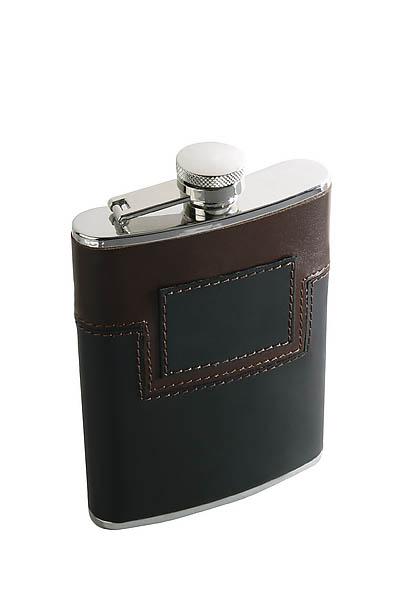 Taschenflasche, rostfreier Edelstahl, 170 ml, schwarz-braune Belederung