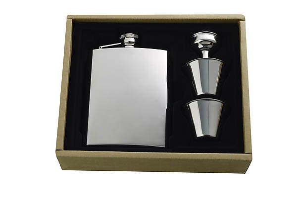 Flachmann-Set, rosfreier Edelstahl, 200 ml, 4-teilig, Geschenkkarton