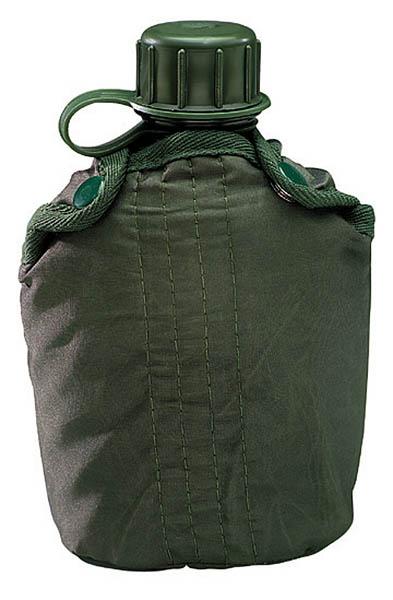 Feldflasche, Kunststoff, grüner Bezug, 0.9 Liter