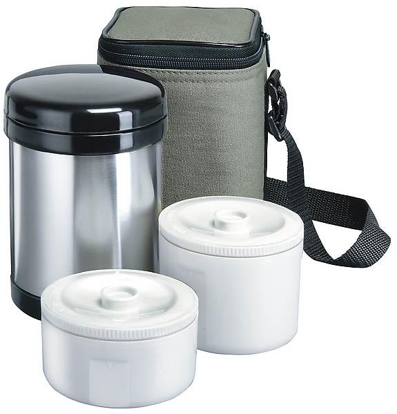 Isosteel-Edelstahl-Isolierbehälter für Lebensmittel, 1.0 l, inklusive 2 Kunststoff-Container und Isoliertasche