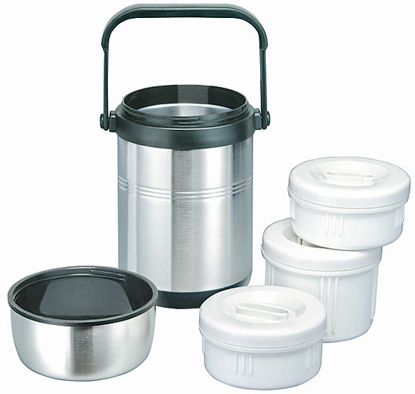 Isosteel-Edelstahl-Isolierbehälter für Lebensmittel, 1.6 l inklusive 2 Kunststoff-Container