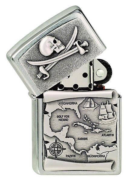 Zippo Feuerzeug, Motiv Piraten-Karte