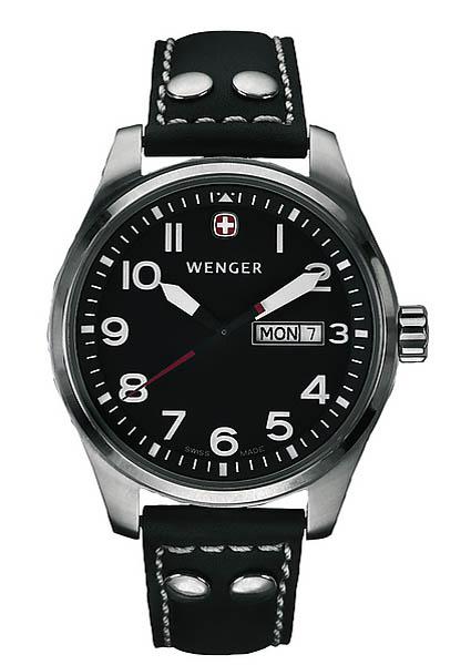 Wenger Swiss Watch, Modell Airforce XL, Dreizeiger, Lederband