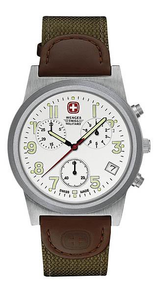 Wenger Swiss Military Uhr, Field Grenadie, mit Nylon/Leder-Armband
