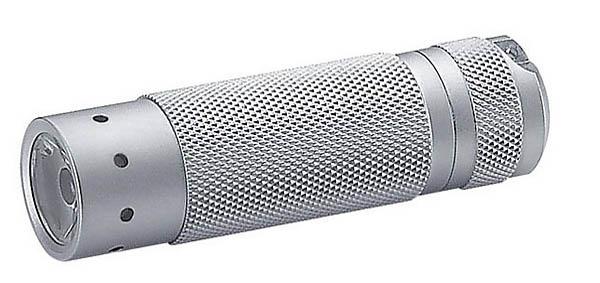 V² LED-Taschenlampe Lithium, silberfarbenes Gehäuse