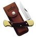 Schrade Taschenmesser, Holzschalen, Messingbacken, Lederetui