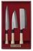 3-teiliges Set japanischer Kochmesser, Stahl 420-J2, Holzgriffe, Kunststoffzwingen