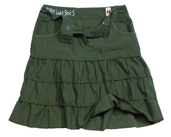Ladies Skirt,oliv gewaschen
